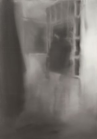 Blurred painting of photograph showing Gudrun Ensslin's deceased body
