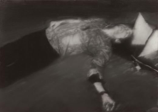 Blurred painting of photograph showing Andreas Baader's deceased body