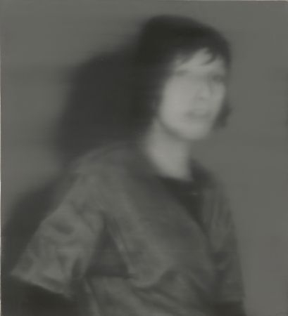 Painting of blurred photograph showing Ulrike Meinhof being confronted by the police