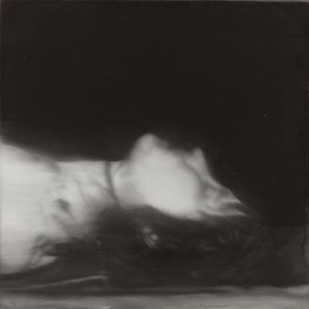 Blurred painting of photograph showing Ulrike Meinhof's deceased body
