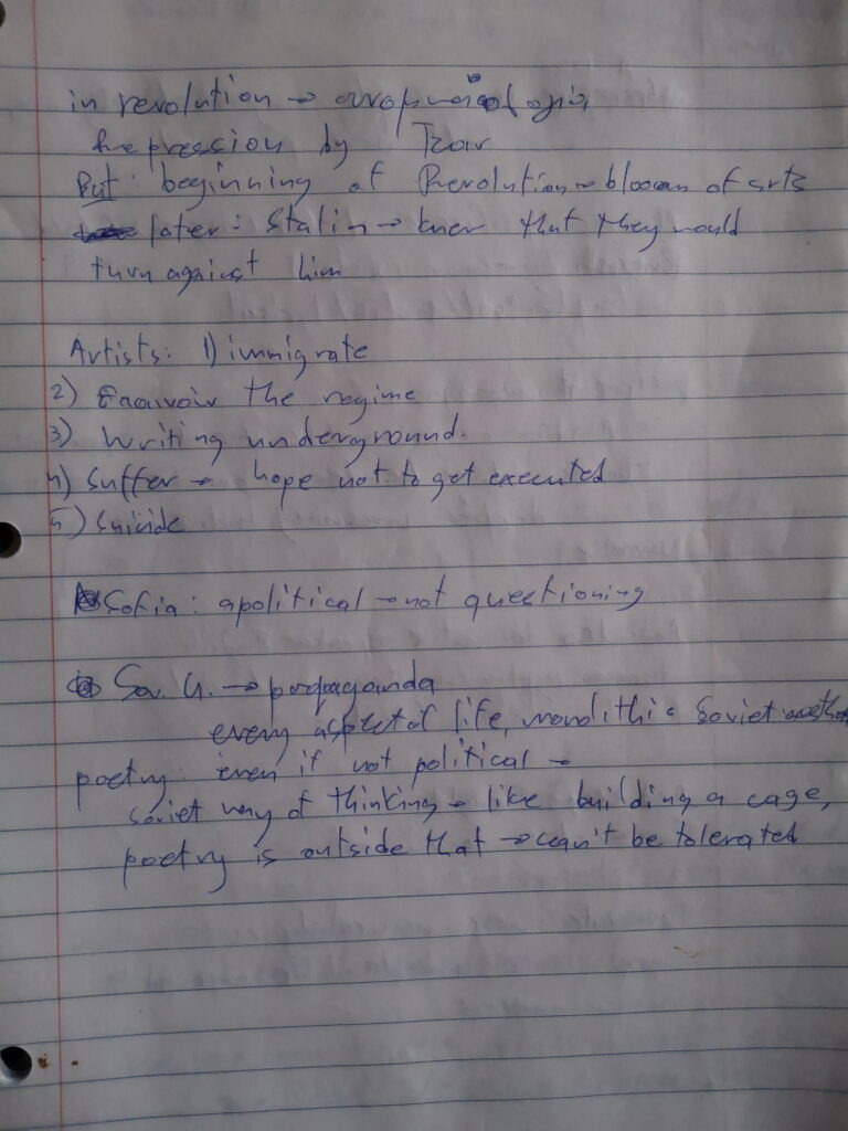 Photo of my notes